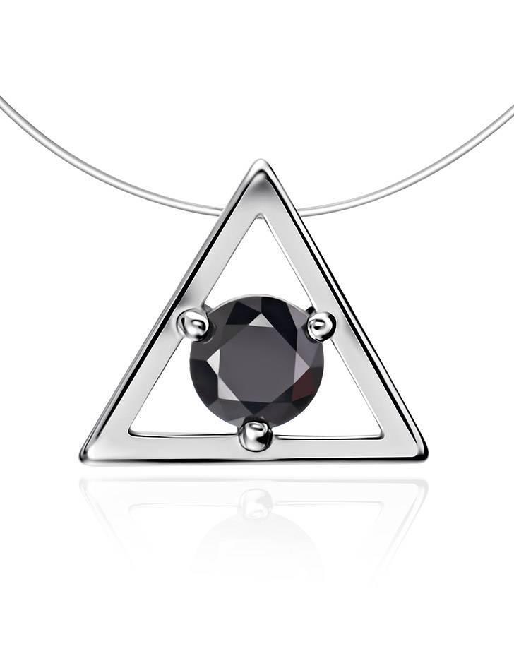 Треугольная серебряная подвеска с черным кристаллом на леске «Аврора», фото