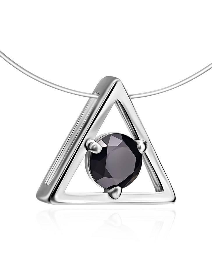 Треугольная серебряная подвеска с черным кристаллом на леске «Аврора», фото , изображение 3