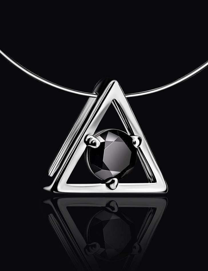 Треугольная серебряная подвеска с черным кристаллом на леске «Аврора», фото , изображение 2