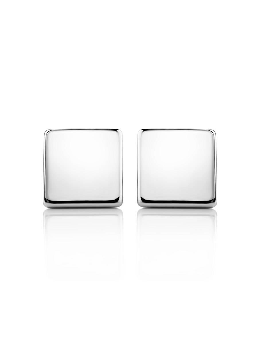 Квадратные серебряные серьги-гвоздики «Аврора», фото , изображение 3