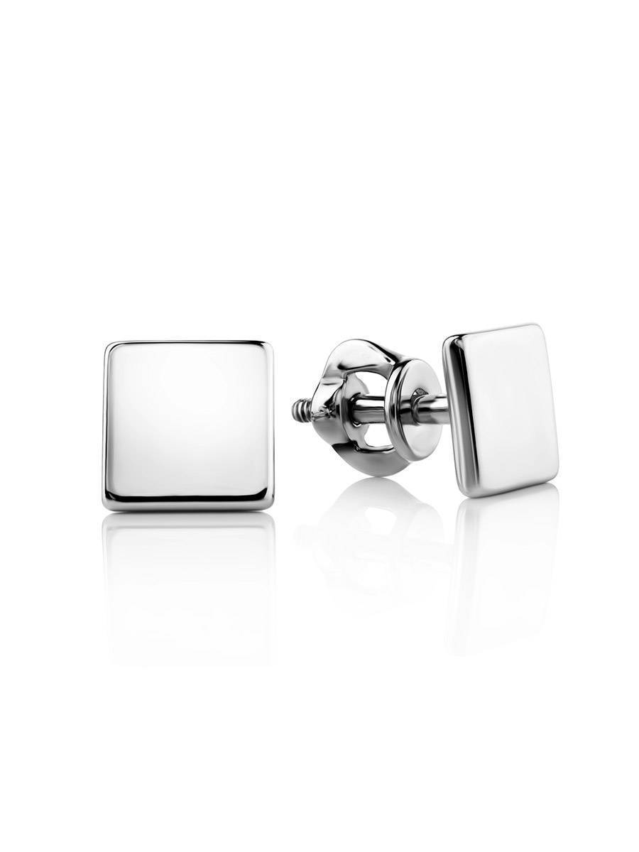 Квадратные серебряные серьги-гвоздики «Аврора», фото