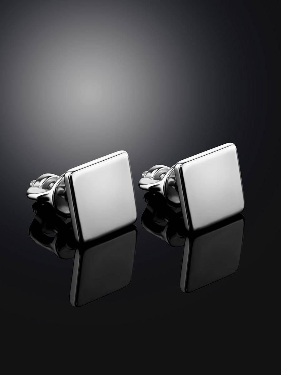 Квадратные серебряные серьги-гвоздики «Аврора», фото , изображение 2