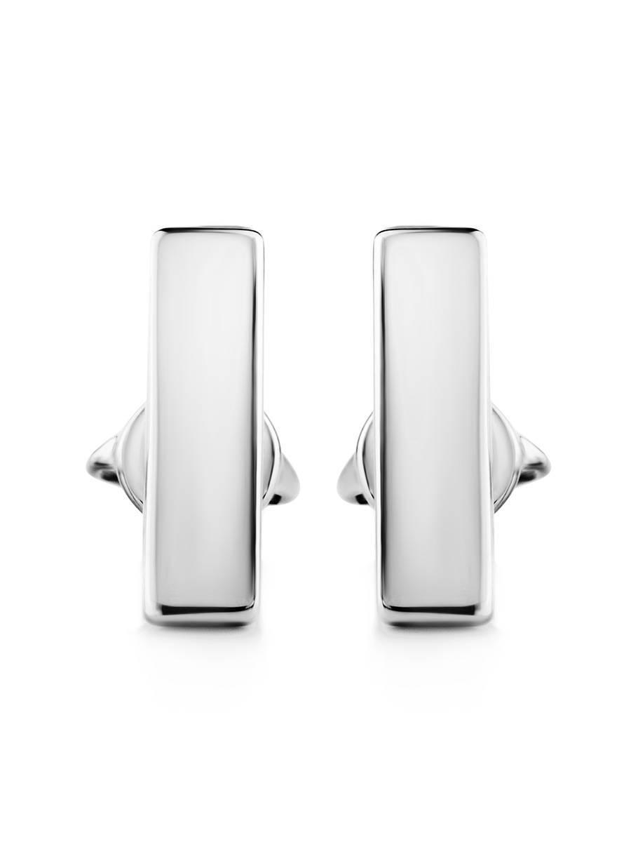 Геометричные серебряные серьги-гвоздики «Аврора», фото , изображение 3