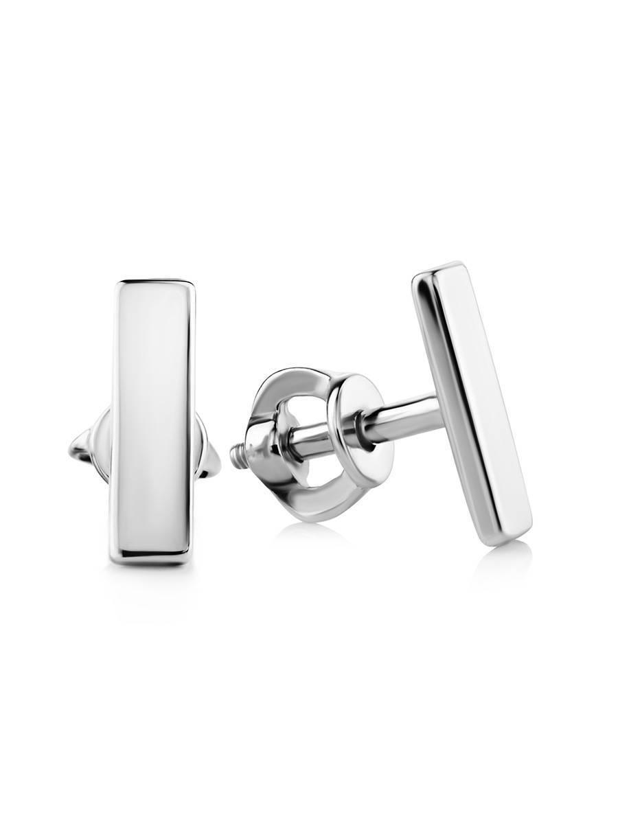 Геометричные серебряные серьги-гвоздики «Аврора», фото