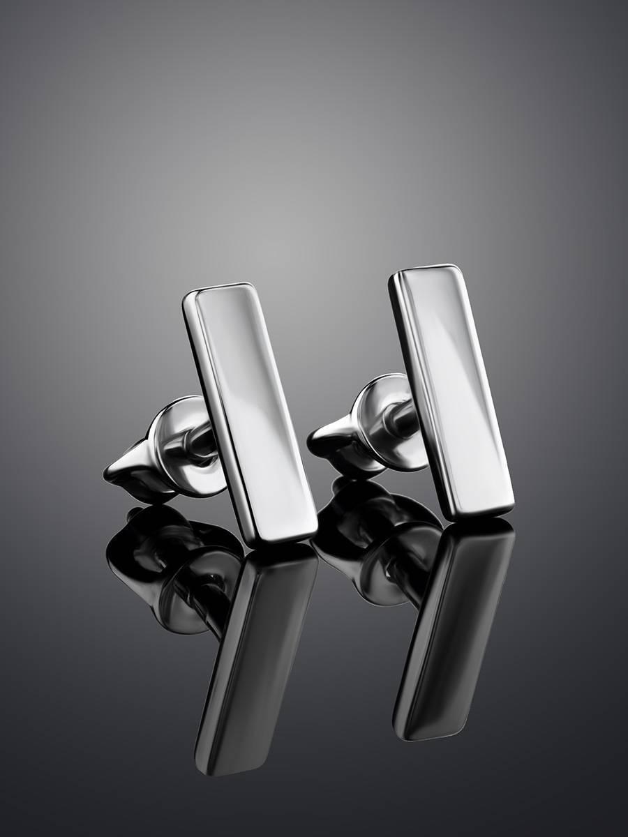 Геометричные серебряные серьги-гвоздики «Аврора», фото , изображение 2