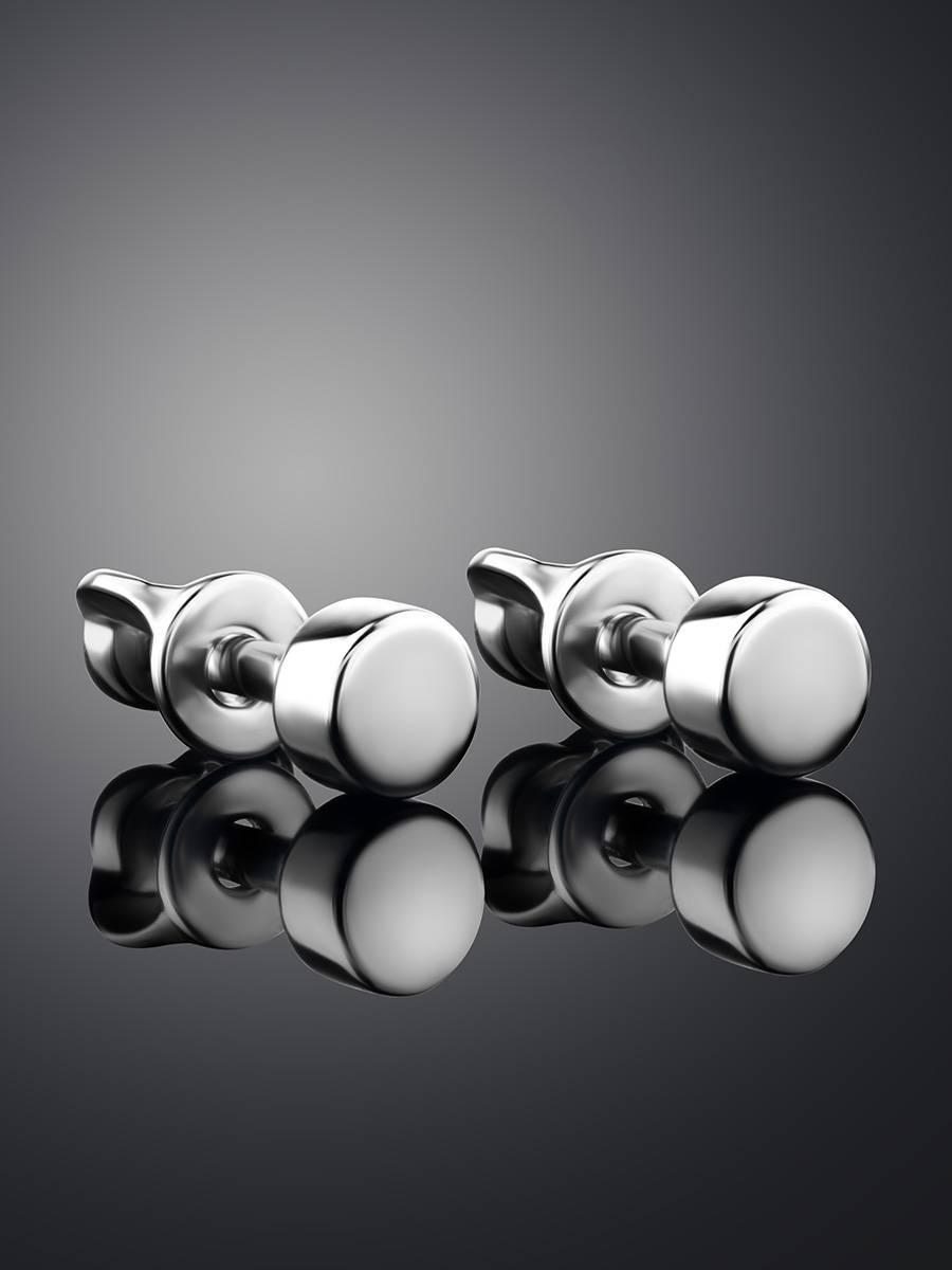 Миниатюрные серебряные серьги-гвоздики «Аврора», фото , изображение 2