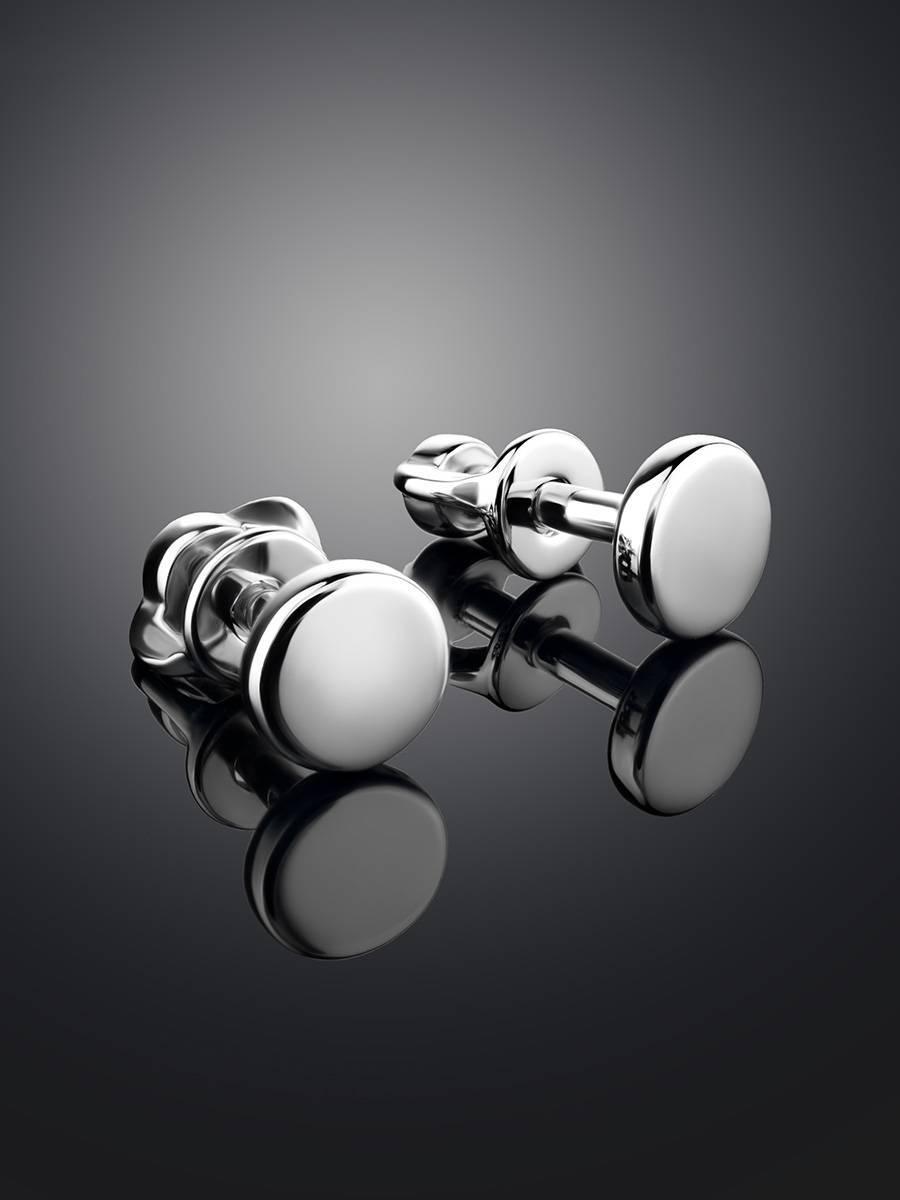 Плоские серебряные серьги-гвоздики «Аврора», фото , изображение 2