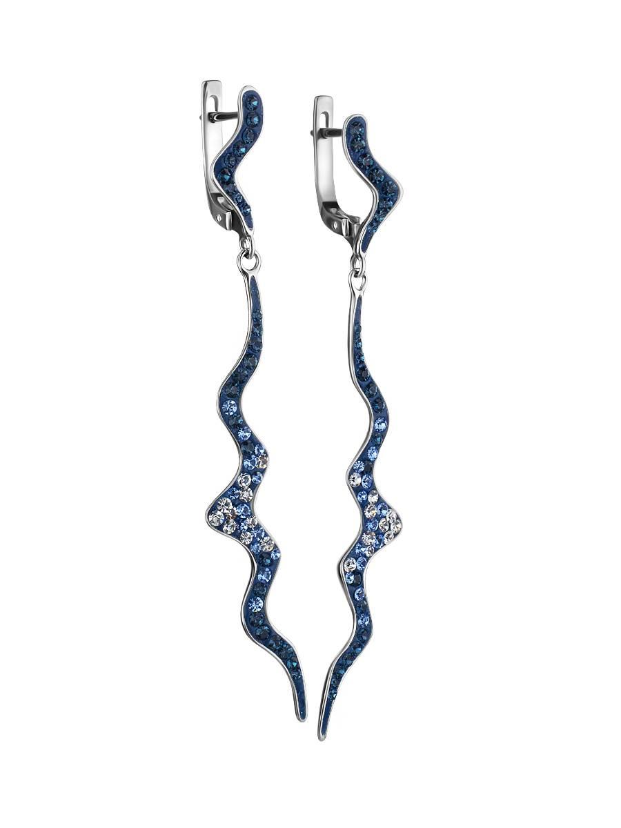 Удлиненные серебряные серьги с кристаллами Jungle, фото , изображение 3
