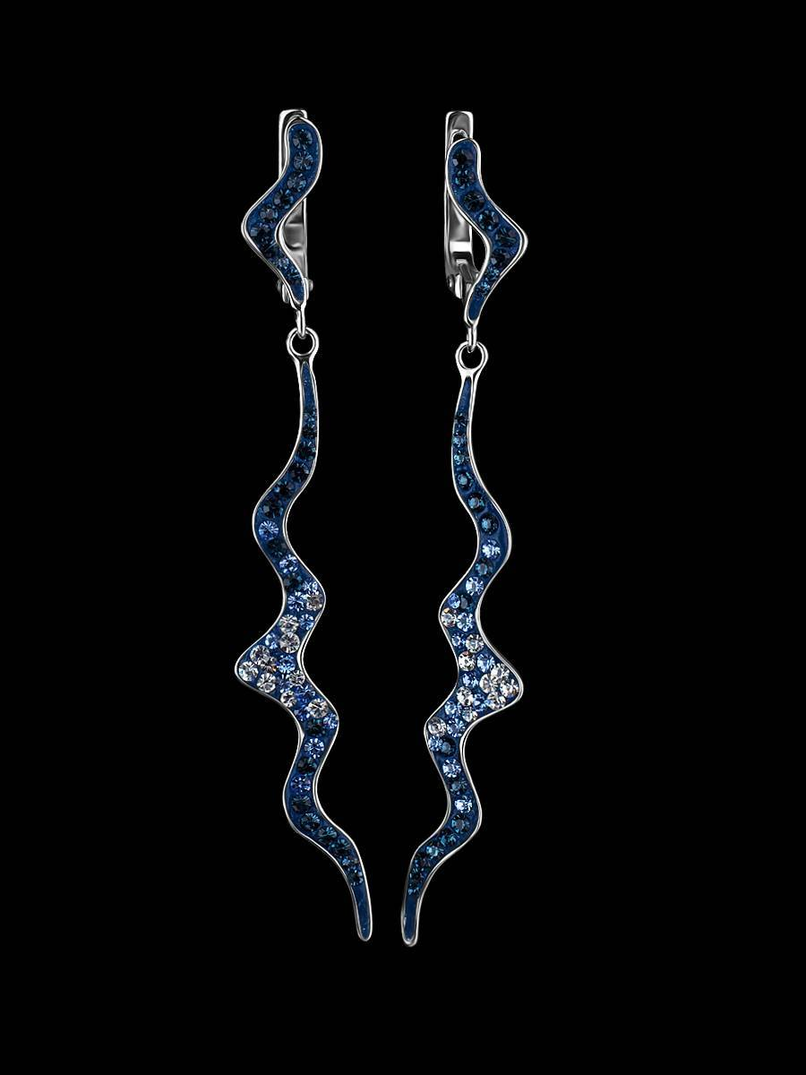 Удлиненные серебряные серьги с кристаллами Jungle, фото , изображение 2