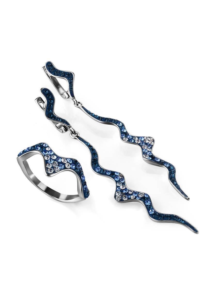 Удлиненные серебряные серьги с кристаллами Jungle, фото , изображение 4