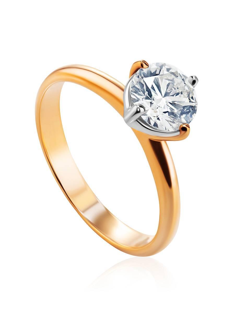 Восхитительное золотое кольцо с крупным бриллиантом, Размер кольца: 19, фото