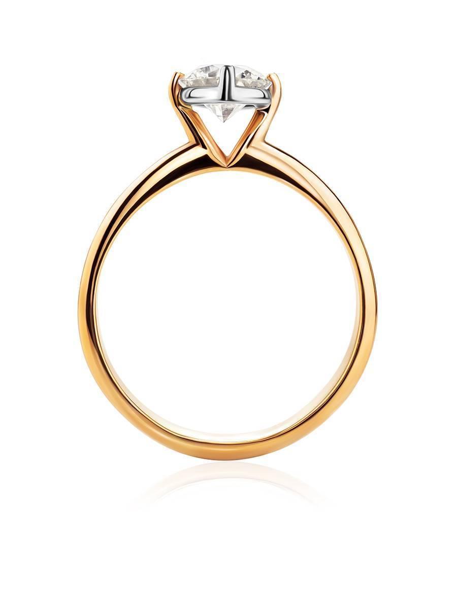 Восхитительное золотое кольцо с крупным бриллиантом, Размер кольца: 19, фото , изображение 3