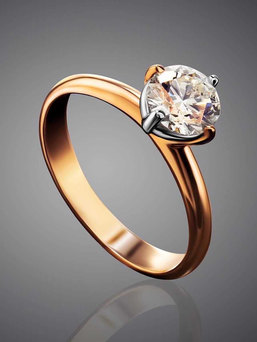 Восхитительное золотое кольцо с крупным бриллиантом, Размер кольца: 19, фото , изображение 2