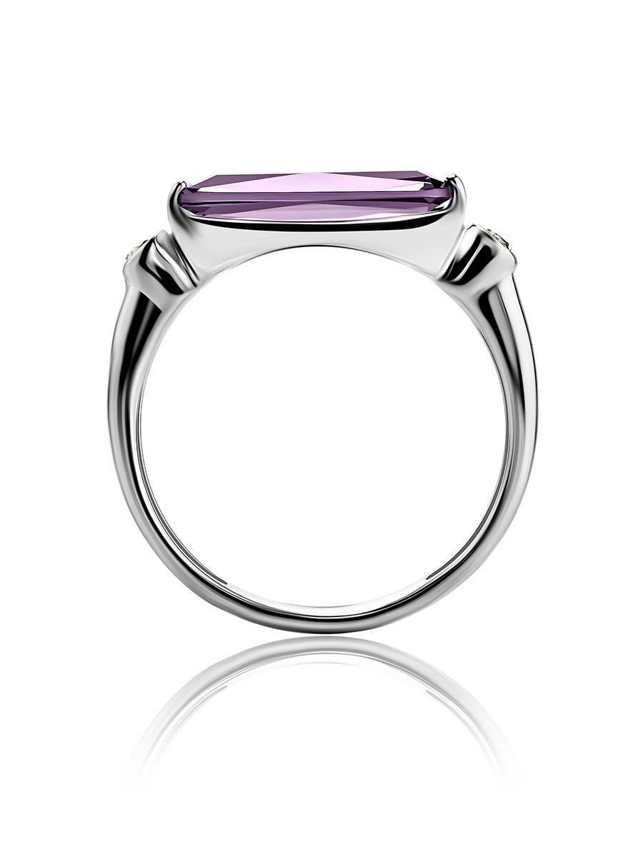 Геометричное серебряное кольцо с кристаллом прямоугольной формы, Размер кольца: 19, фото , изображение 4