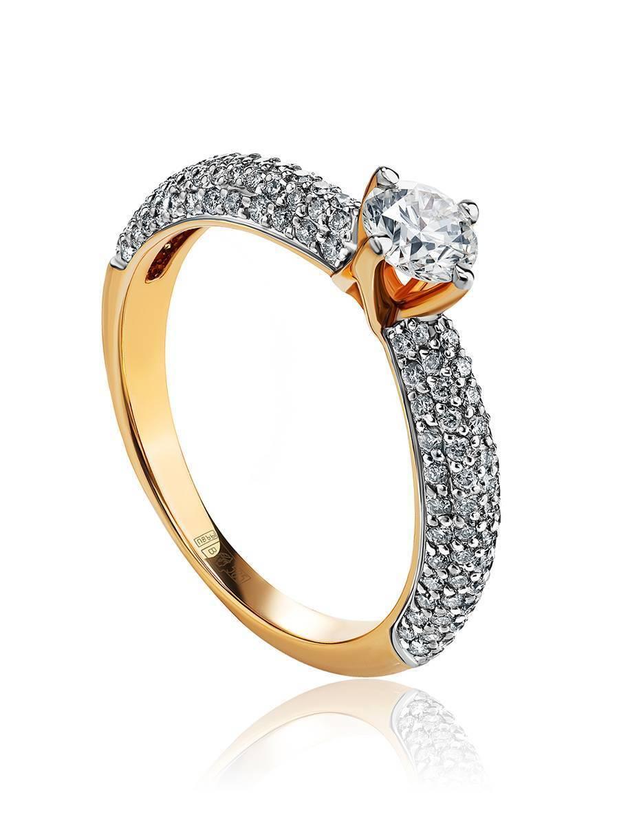 Золотое кольцо с крупным бриллиантом и бриллиантовым паве, Размер кольца: 17, фото