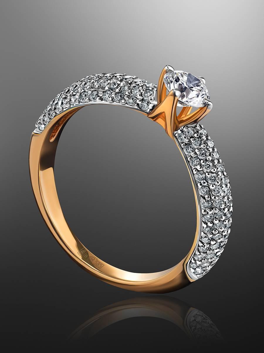 Золотое кольцо с крупным бриллиантом и бриллиантовым паве, Размер кольца: 17, фото , изображение 2