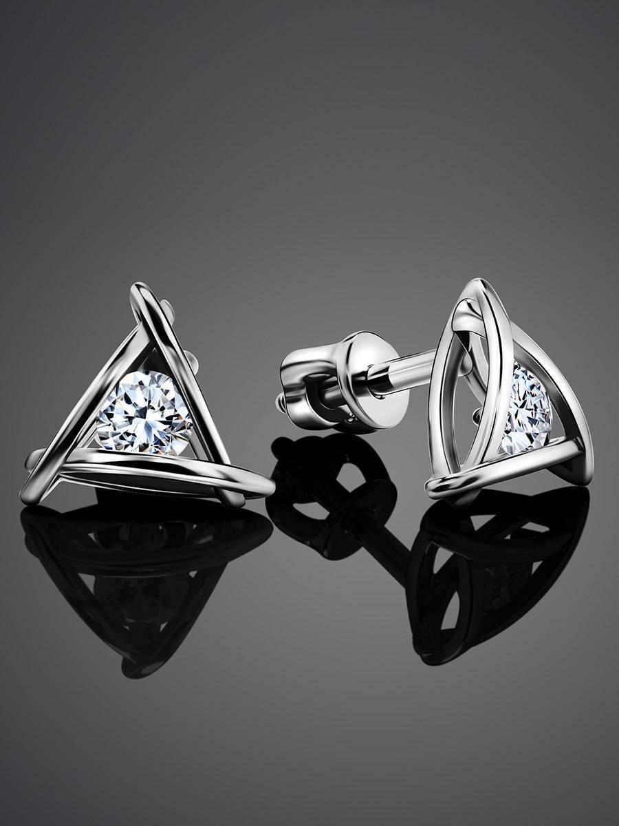 Треугольные серебряные серьги-гвоздики с кристаллами «Аврора», фото , изображение 2
