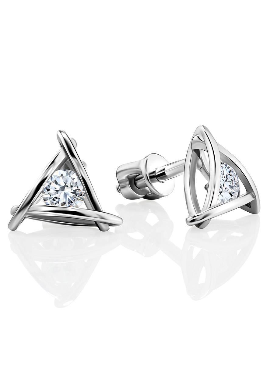 Треугольные серебряные серьги-гвоздики с кристаллами «Аврора», фото