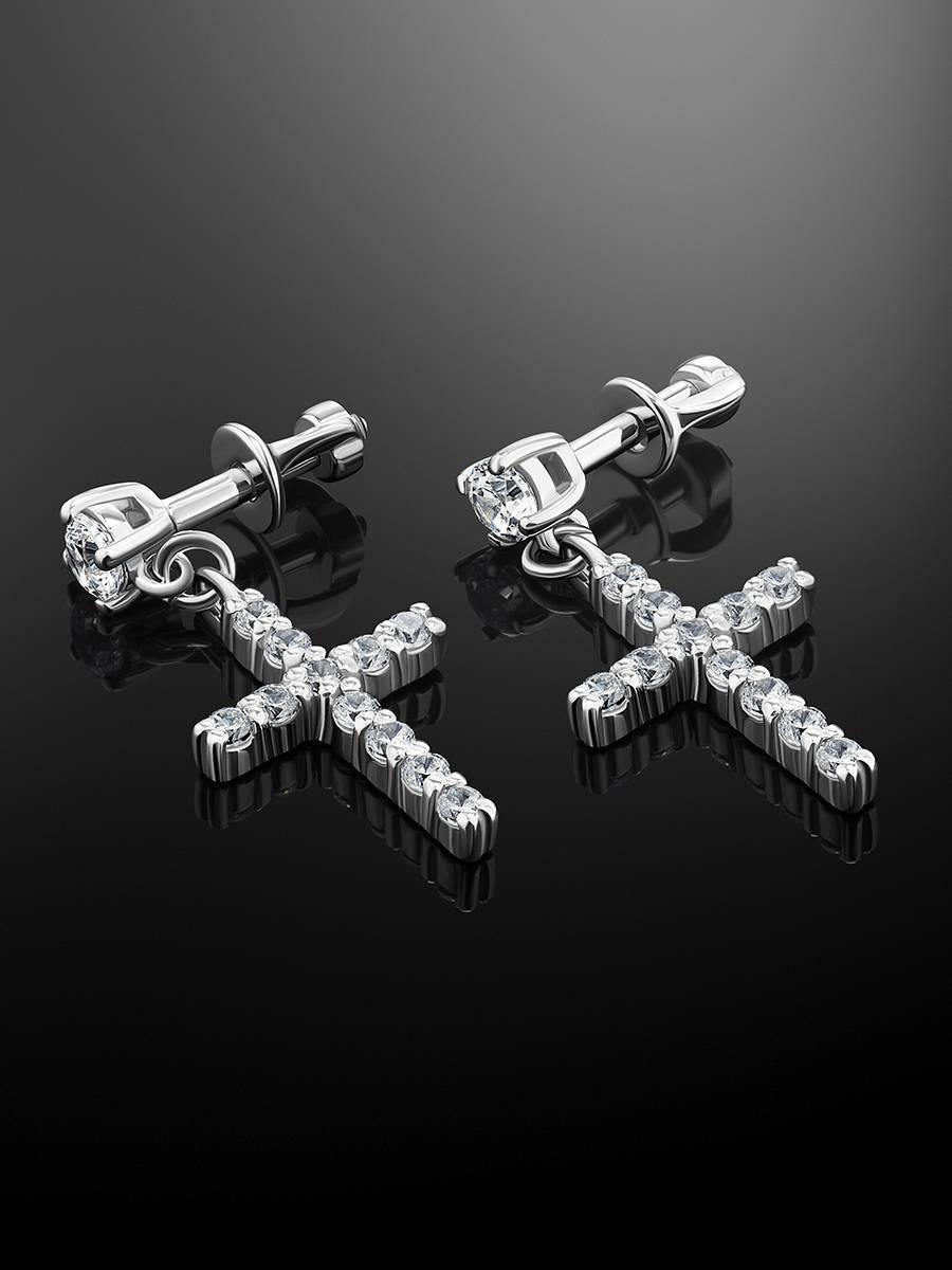 Серебряные серьги-гвоздики с подвесками-крестиками «Аврора», фото , изображение 2
