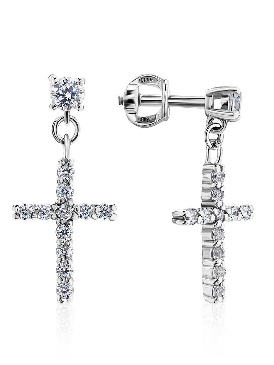 Серебряные серьги-гвоздики с подвесками-крестиками «Аврора», фото