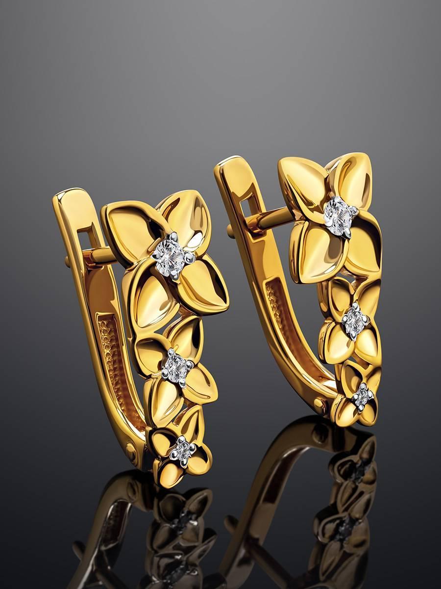 Серьги из позолоченного серебра с фианитами в цветочном дизайне, фото , изображение 2