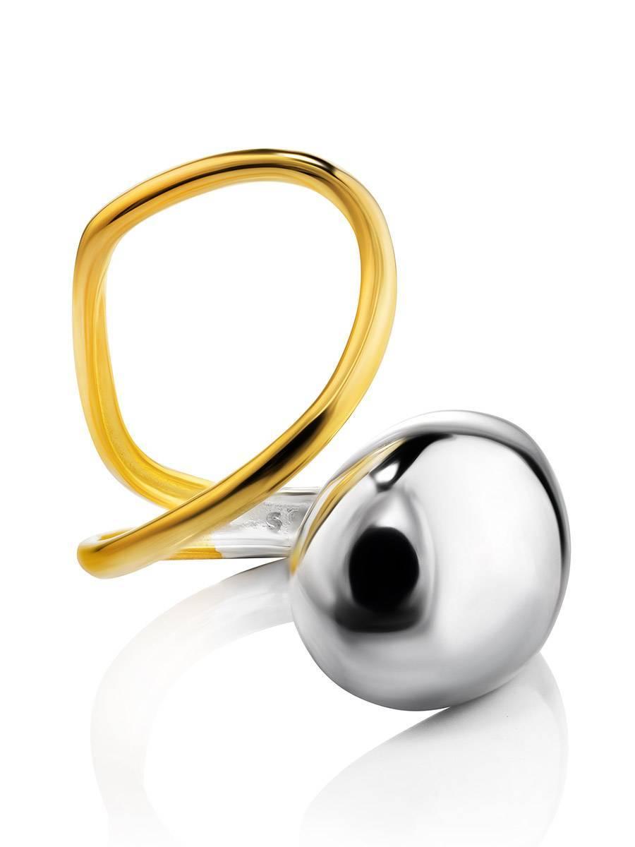 Двухцветное кольцо в футуристическом стиле Liquid, Размер кольца: б/р, фото , изображение 3