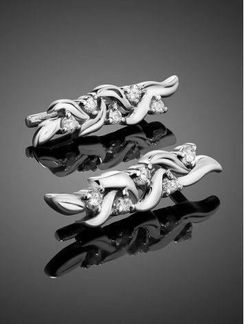 Очаровательные серебряные серьги с фианитами, фото , изображение 2