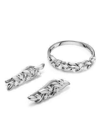 Очаровательные серебряные серьги с фианитами, фото , изображение 4