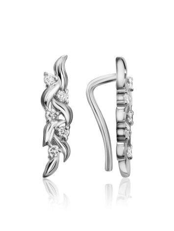Очаровательные серебряные серьги с фианитами, фото