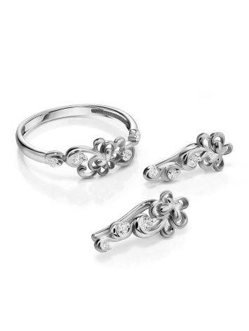 Нежные ажурные серьги из серебра с фианитами, фото , изображение 3