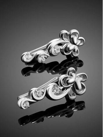 Нежные ажурные серьги из серебра с фианитами, фото , изображение 2