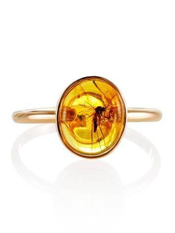 Нежное кольцо из золота и янтаря с инклюзом «Клио» 17, Размер кольца: 17, фото , изображение 3