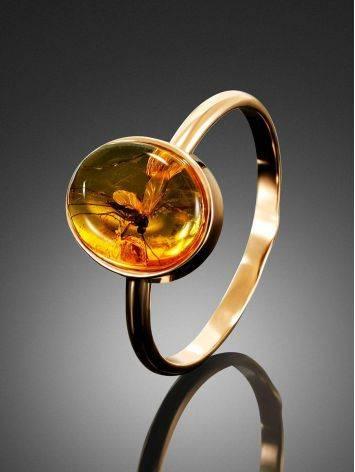 Нежное кольцо из золота и янтаря с инклюзом «Клио» 17, Размер кольца: 17, фото , изображение 2