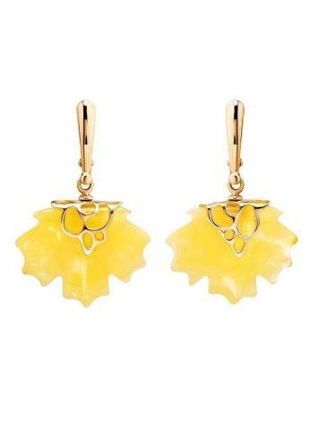 Эффектные серьги «Канада» из золота и натурального янтаря медового цвета, фото