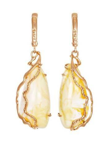 Изумительные серьги «Версаль» из золота с натуральным янтарём медового цвета, фото