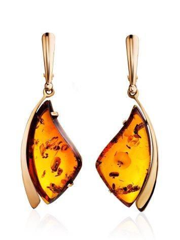 Изысканные серьги из натурального янтаря коньячного цвета и золота «Палладио», фото