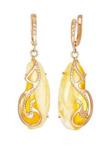 Изысканные серьги «Версаль» из золота и натурального пейзажного янтаря, фото