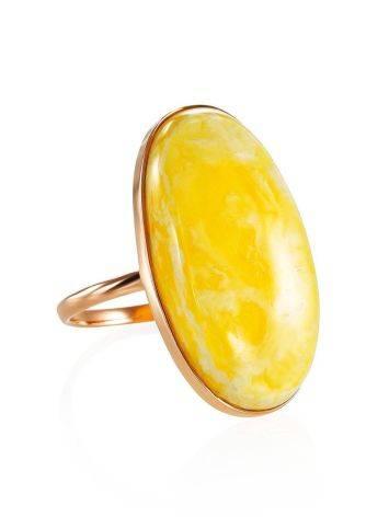 Кольцо из золота и натурального цельного янтаря с пейзажной текстурой 17.5, Размер кольца: 17.5, фото