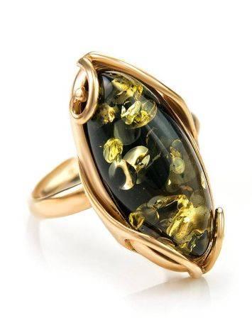 Крупное кольцо из золота 585 пробы со вставкой из натурального янтаря зелёного цвета «Рококо» 18, Размер кольца: 18, фото