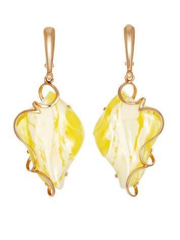 Лёгкие изящные серьги «Риальто» из золота и натурального медового янтаря, фото