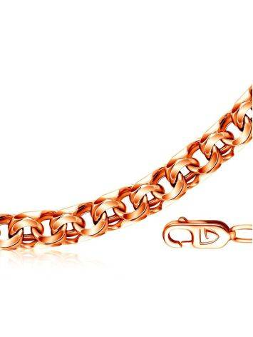 Объёмная широкая цепь «Бисмарк» из позолоченного серебра, Длина: 55, фото