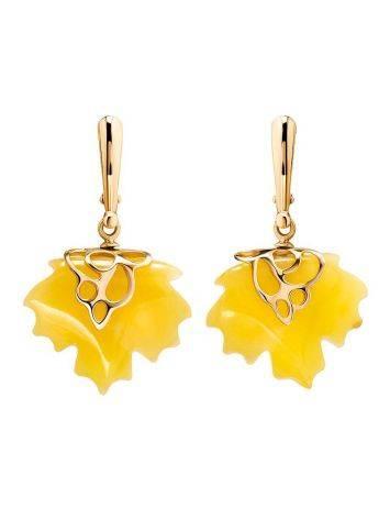 Серьги «Канада» из золота и натурального цельного янтаря медового цвета, фото