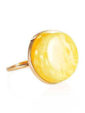 Стильное и элегантное кольцо из золота и пейзажного янтаря 17.5, Размер кольца: 17.5, фото