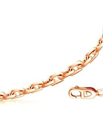 Тонкая нежная цепь «Якорная» из позолоченного серебра 55 см, Длина: 55, фото
