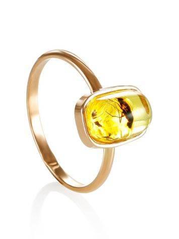 Тонкое нежное кольцо из золота и янтаря с инклюзами насекомых«Клио» 17, Размер кольца: 17, фото