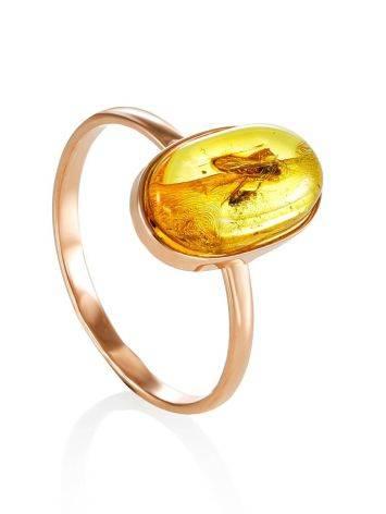 Уникальное золотое кольцо «Клио» из янтаря с крупным инклюзом насекомого 17, Размер кольца: 17, фото