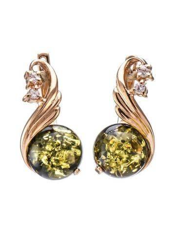 Великолепные золотые серьги с натуральным зелёным янтарём и цирконитами «Лебедь», фото