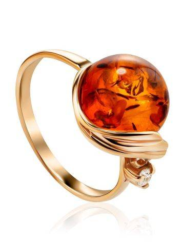 Яркое кольцо из золота и натурального янтаря коньячного цвета «Лебедь» 18, Размер кольца: 18, фото