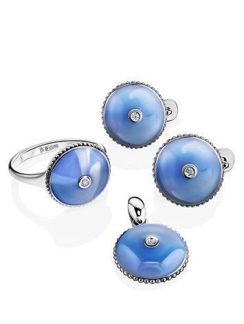 Нежные серебряные серьги с бриллиантами и эмалью «Наследие», фото , изображение 3
