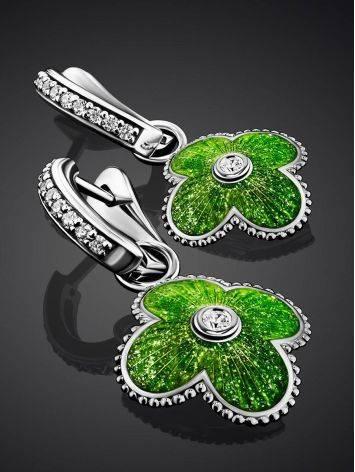 Яркие серебряные серьги с подвесками-четырехлистниками «Наследие», фото , изображение 2